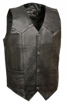 Milwaukee Leather  - Classic Snap Front Leather Biker Vest