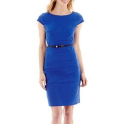 Alyx - Short-Sleeve Belted Spliced Sheath Dress