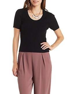 Charlotte Russe - Scoop Neck Ribbed Tee