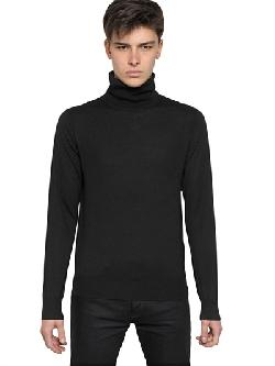 GIVENCHY  - LOGO EMBROIDERED WOOL KNIT TURTLENECK