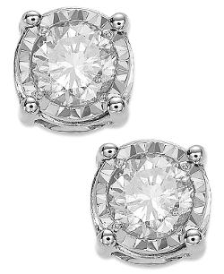 TruMiracle - Diamond Stud Earrings in 14k White Gold