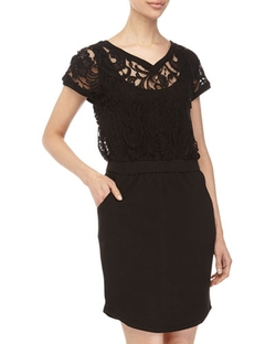 Catherine Malandrino Indigo - Lace V-Neck Cap-Sleeve Dress