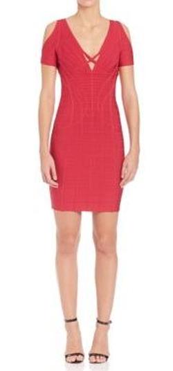 Herve Leger - Cold Shoulder Dress with Crisscross Front