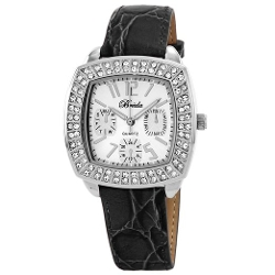 Breda - Square Rhinestone Encrusted Leather Watch
