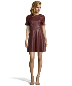 Wyatt  - Oxblood Faux Leather Seamed Short Sleeve Dress