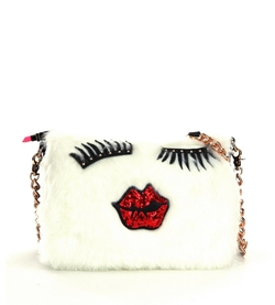 Betsey Johnson  - Fur Goodness Face Cross-Body Bag