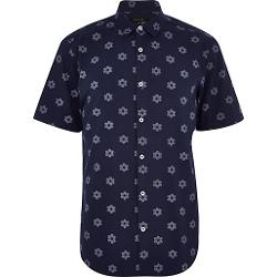 River Island - Navy Flower Print Short Sleeve Shirt