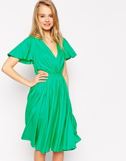 Asos Collection - Flutter Sleeve Midi Dress