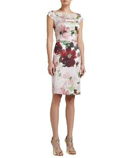 SoCa	  - Garden Floral-Print Stretch Silk Cap-Sleeve Dress with Beading