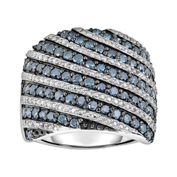 Kohls - Blue & White Diamond Striped Ring