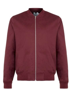 Topman - Burgundy Cotton Bomber Jacket