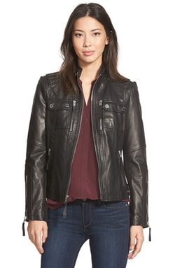 Michael Michael Kors  - Patch Pocket Leather Jacket