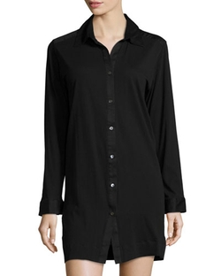 Donna Karan   - Long-Sleeve Button-Front Sleepshirt