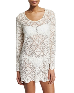 Ella Moss - Stella Embroidered-Lace Sheer Tunic Top