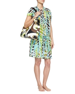 Emilio Pucci	  - Printed Silk Drawstring Coverup Dress