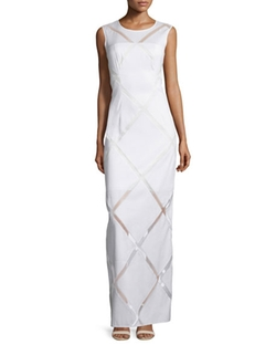 Milly  - Sleeveless Grid-Print Column Gown