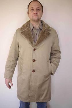 Bonanza - Vintage 1970s Faux Fur Lined Trench Over Car Coat