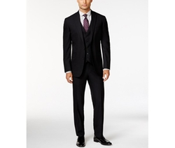 Kenneth Cole Reaction  - Black Tonal Check Peak Lapel Slim-Fit Vested Suit