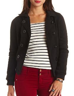 Charlotterusse - Double Breasted & Belted Fleece Bomber Jacket