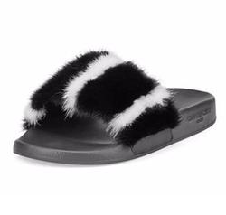Givenchy  - Mink-Fur Flat Slide Sandals