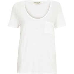 River Island - White Plain Scoop Neck T-Shirt