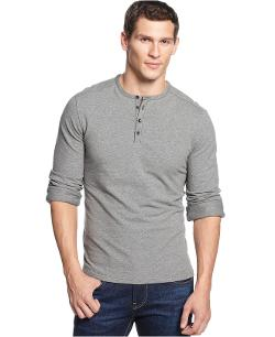 Vince Camuto  - Slim-Fit Long-Sleeve Henley Shirt