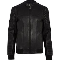 River Island - Black Quilted Panel Biker Jacket