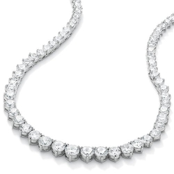 Lux  - Round White Cubic Zirconia Silvertone Necklace