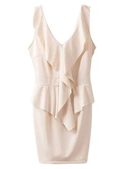 Choies - Beige Peplum Backless Bodycon Dress