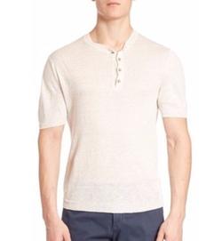 Eleventy - Short-Sleeve Linen Henley Shirt