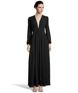 Jill Jill Stuart - Georgette Plunge Neck Evening Gown