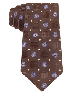 Tallia Orange - Polka Dot & Medallion Silk Tie
