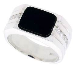 Sabrina Silver -  Rectangular Black Onyx Ring