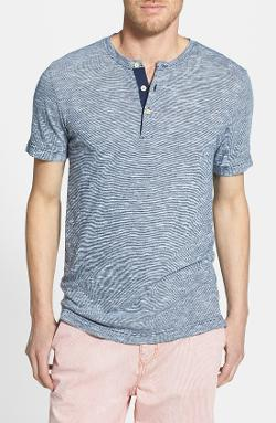 Surfside Supply  - Stripe Short Sleeve Henley T-Shirt