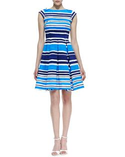 kate spade  - new york mariella fit-and-flare striped dress, french navy/turquoise/white