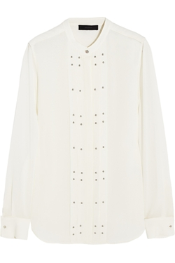 Belstaff - Darcy Studded Silk-Georgette Blouse