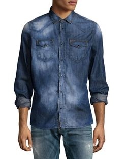Diesel - Faded Button-Down Denim Shirt, Indigo