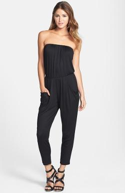 Loveappella  - Pleated Strapless Jumpsuit