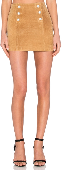 Capulet - Front Button Suede Mini Skirt