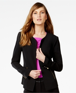 Calvin Klein - Zip-Pocket Collarless Blazer
