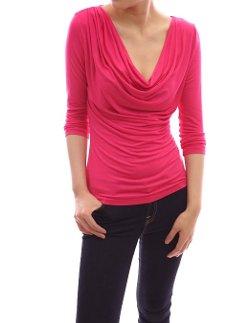 Patty Boutik  - Unique Drapes Front Cowl Neck 3/4 Sleeve Blouse Top