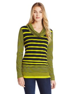 Jones New York  - Stripe Cowl Neck Pullover Sweater