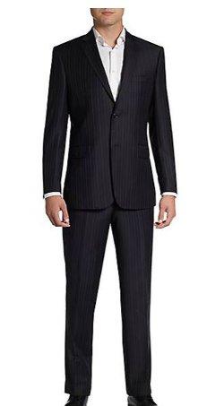Saks Fifth Avenue Black - Classic Pinstripe Wool Suit