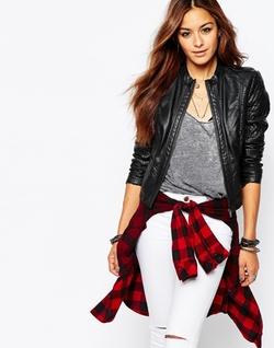Noisy May  - Macy Short Leather Look Jacket