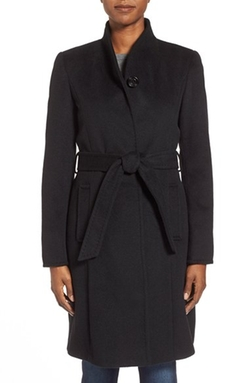 Ellen Tracy - Belted Wool Blend Stand Collar Coat