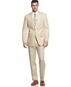 Michael Kors - Modern Fit Solid Tan Linen Suit