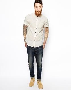Printed Shirtasos - Short Sleeve With Tile Geo Print Shirt