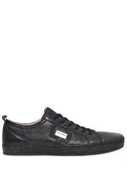 Dolce & Gabbana  - Uk Metal Logo Plaque Leather Sneakers