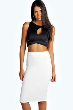 Boohoo - Tia Textured Jacquard Midi Skirt