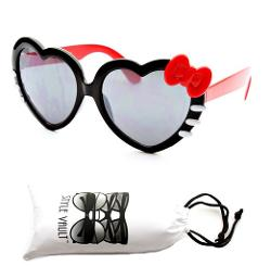Style Vault  - Kids Child Girls Ribbon Heart Shaped Kitty Style Sunglasses